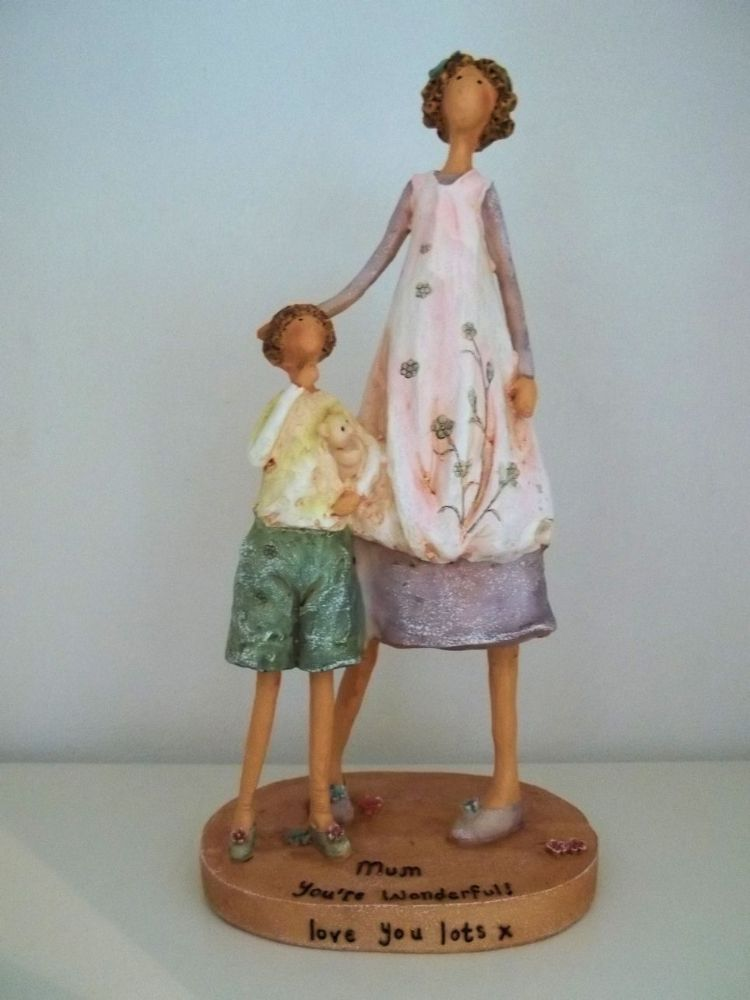 Mother and son figurine by happy hearts collection gift